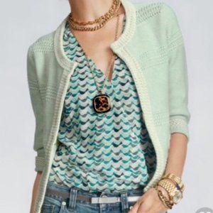 😊 CAbi Society Sweater Cardigan Hook Clasp Mint